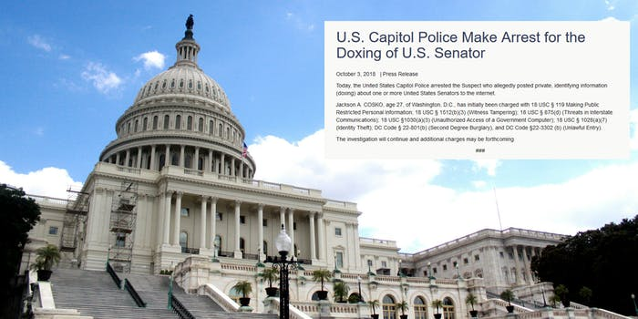 Capitol Police have arrested a 27-year-old former Democratic House of Representatives intern for allegedly posting the personal information of several Senators on Wikipedia last week.