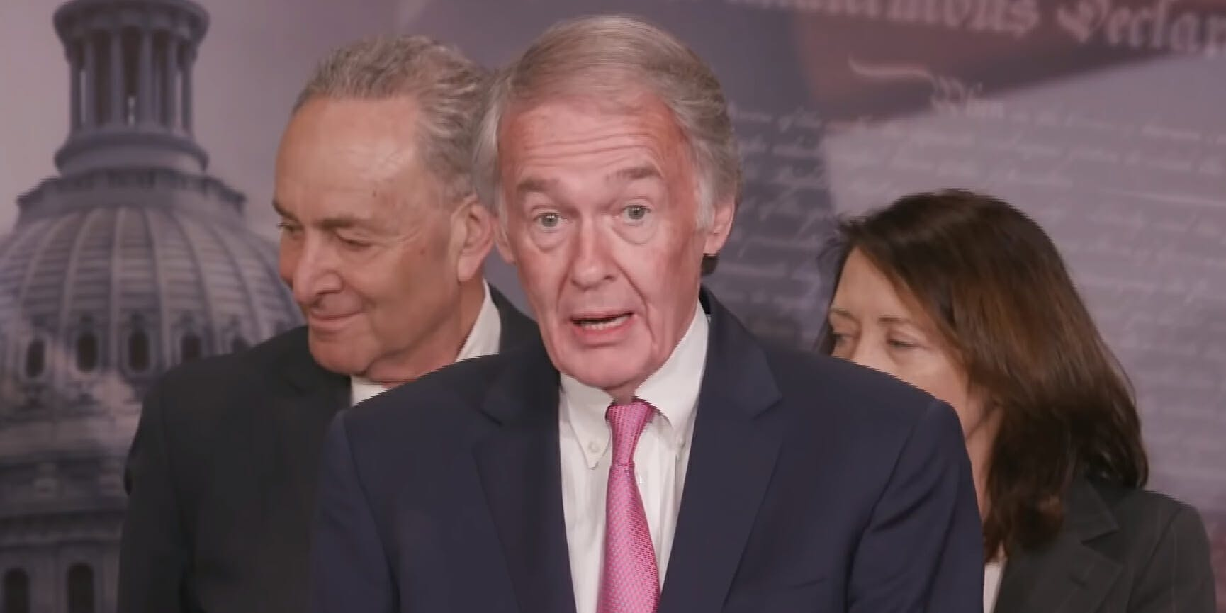 Sen. Edward Markey addresses reporters after the Senate passed its net neutrality congressional review act vote in May.