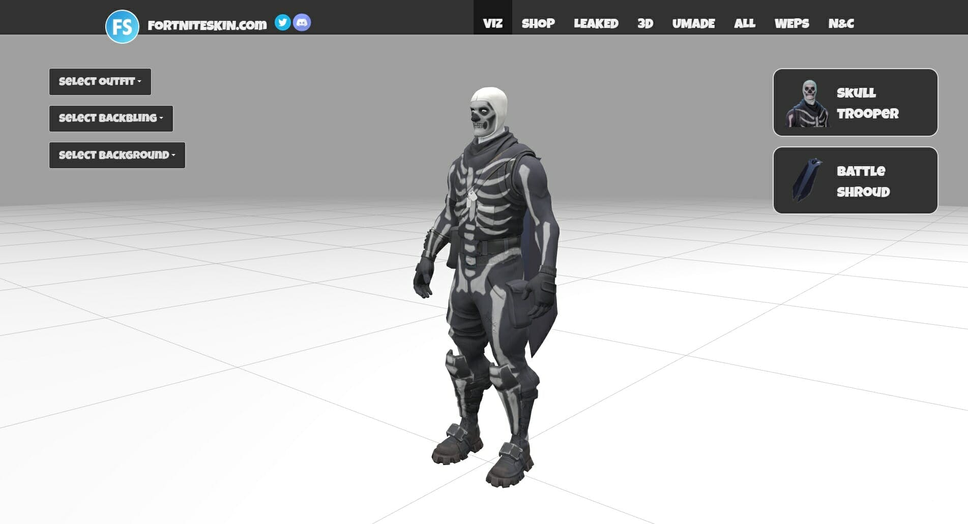 Fortnite Skin's 3D visualizer in action.