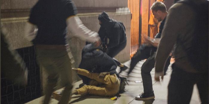 Fighting between Proud Boys and protestors
