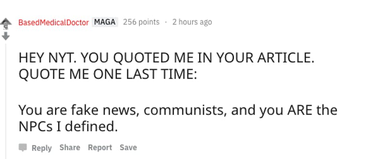 Reddit NPC mad