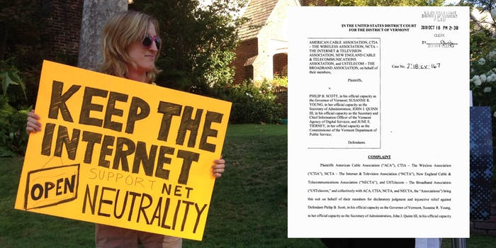 Vermont net neutrality lawsuit