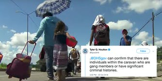 A DHS spokesperson was criticized for making a claim about the migrant caravan without evidence.