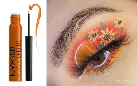 best halloween makeup vivid brights on woman's eye