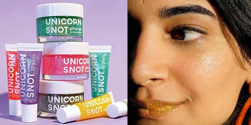 woman wearing unicorn snot glitter