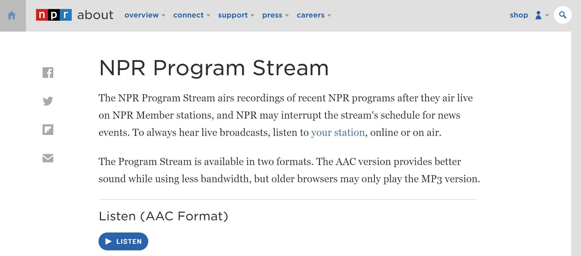 npr live stream npr program stream