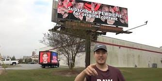 PewDiePie YouTube billboard MrBeast