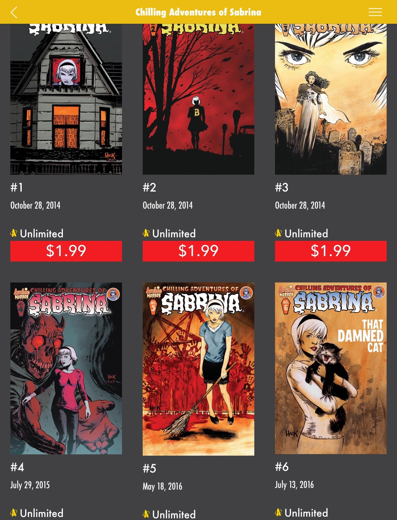 how to read chilling adventures of sabrina archie unlimited