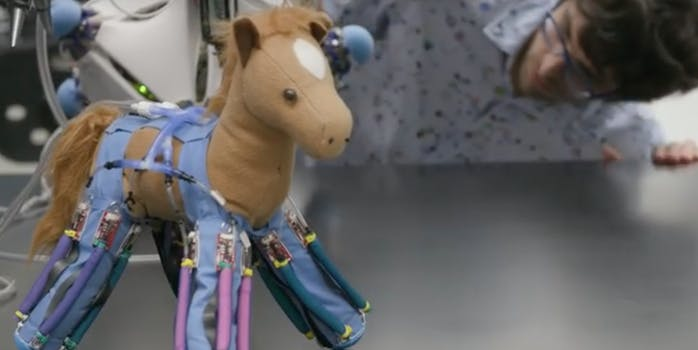 Toy horse with robotic skin