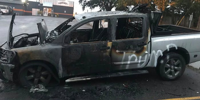 A man's truck with Trump bumper stickers was lit on fire in a bar parking lot.