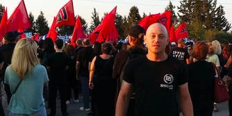 andrew anglin at nazi rally in Greece