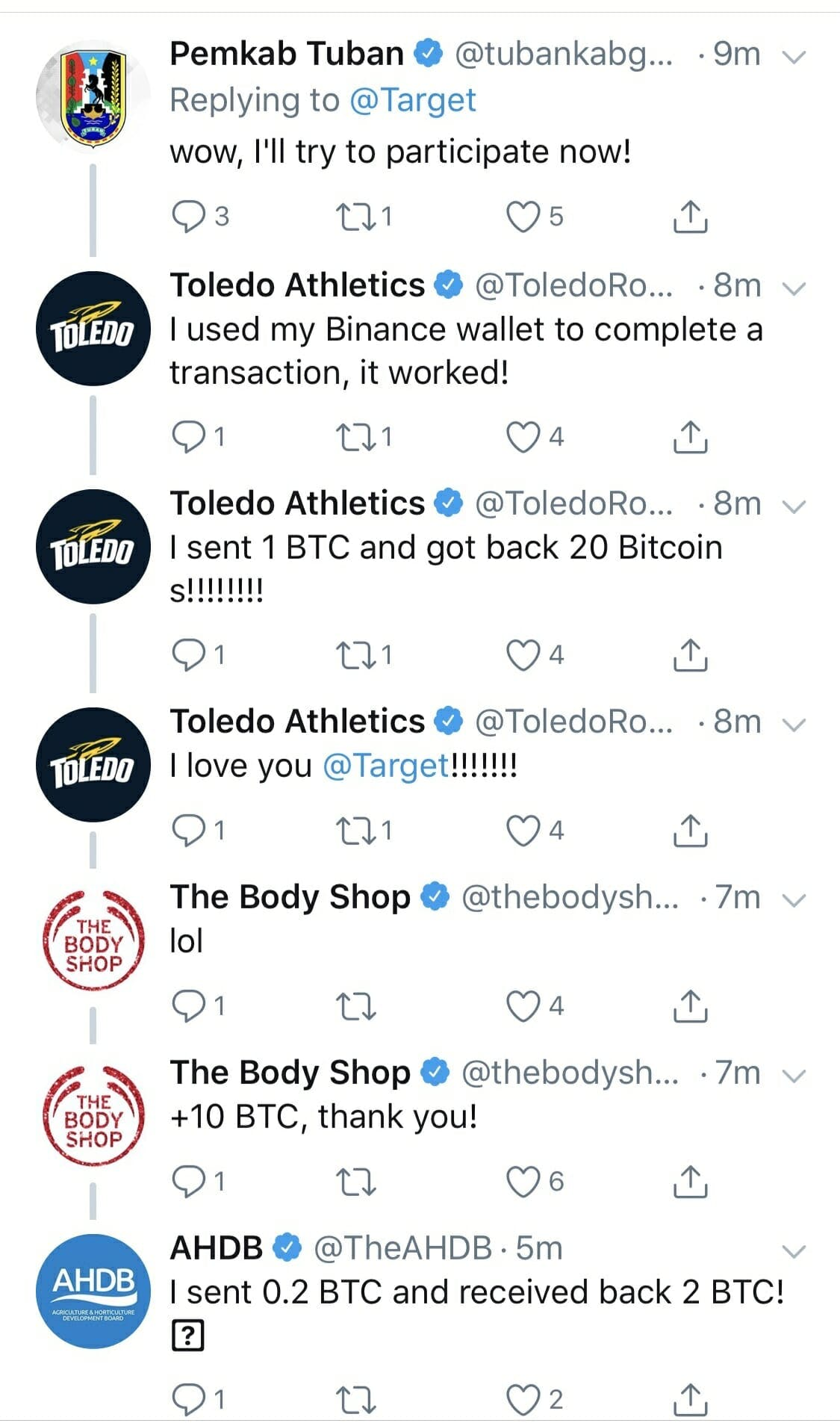 A Twitter Bitcoin scam impacted The Body Shop and the University of Toledo.