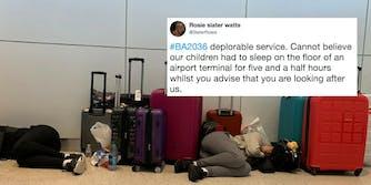 British Airways passengers sleeping on the ground