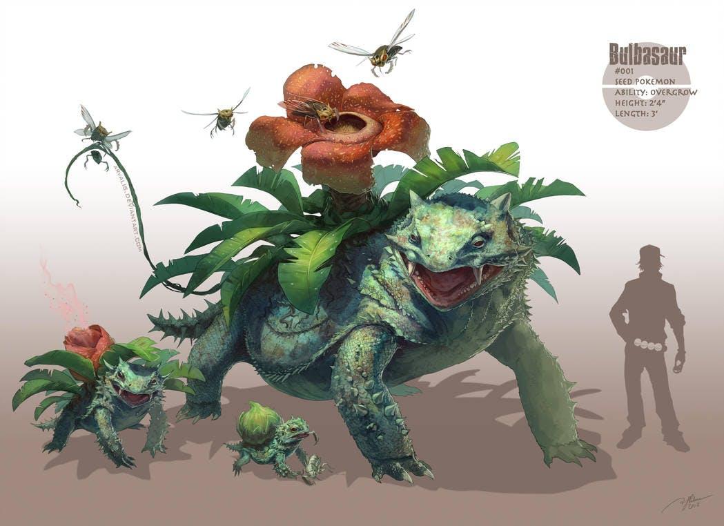 Detective Pikachu concept artist RJ Palmer's depiction of the the Pokémon Bulbasaur's evolution line.