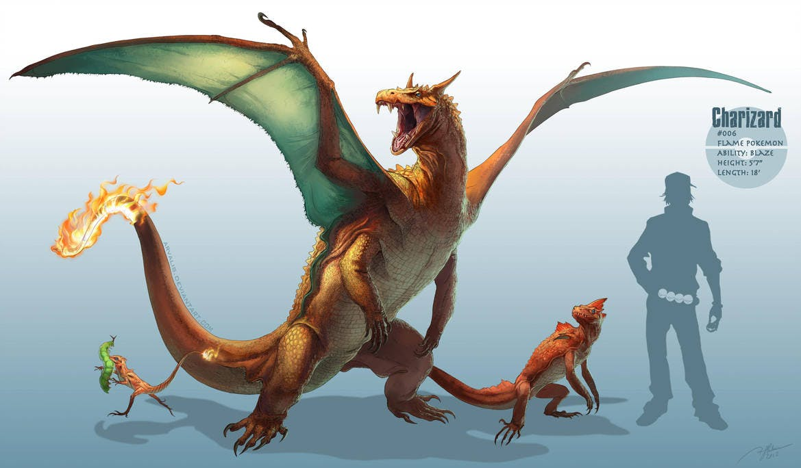 RJ Palmer's depiction of the Pokémon Charmander's evolution line.