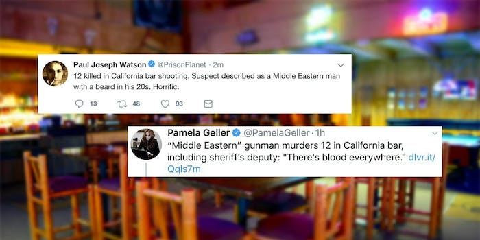"""conservatives blame thousand oaks on """"middle eastern"""" man"""