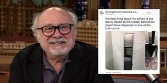 Danny DeVito is honored by the bathroom shrine honoring him at SUNY Purchase.