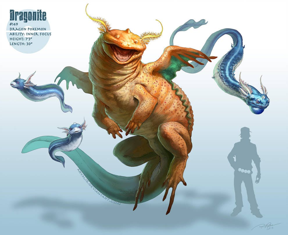RJ Palmer's depiction of the Pokémon Dratini, Dragonair, and Dragonite