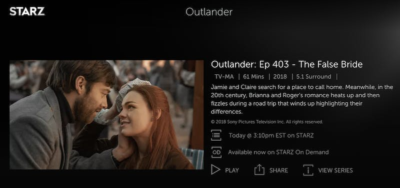 how to watch outlander for free starz
