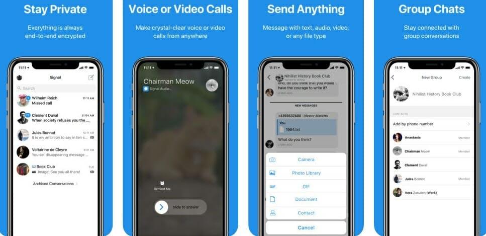 best messaging apps 2018 - signal