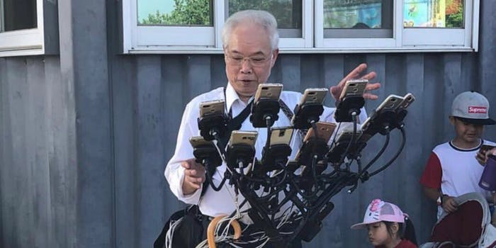 Tawainese pokemon go player with multiple phone rig