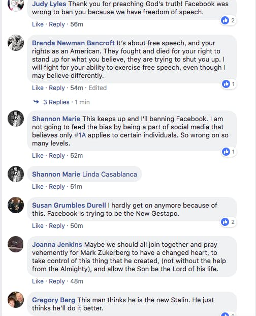franklin graham facebook comments free speech
