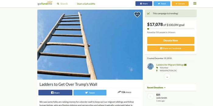 Ladders to get over Trump's wall GoFundMe