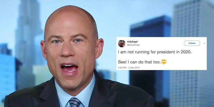 Michael Avenatti says he's not running for president, inspires a meme.