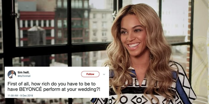 Beyoncé performs at a private wedding, leaving many wondering the cost of her booking fee.
