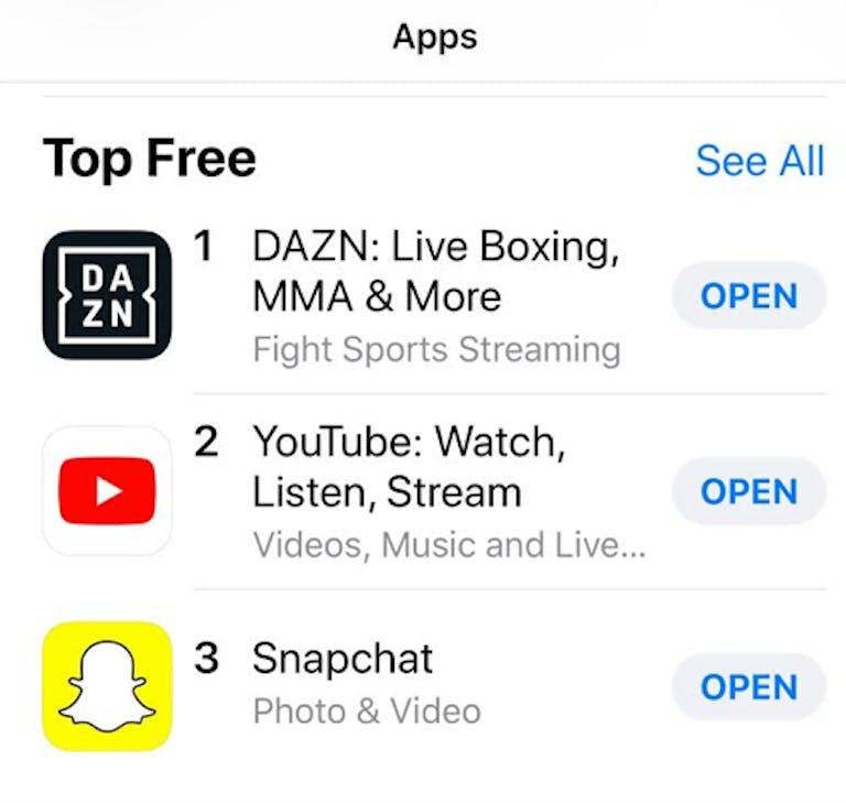 DAZN top free app