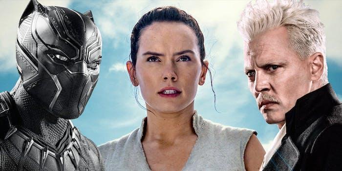 Black Panther, Rey, and Grindelwald