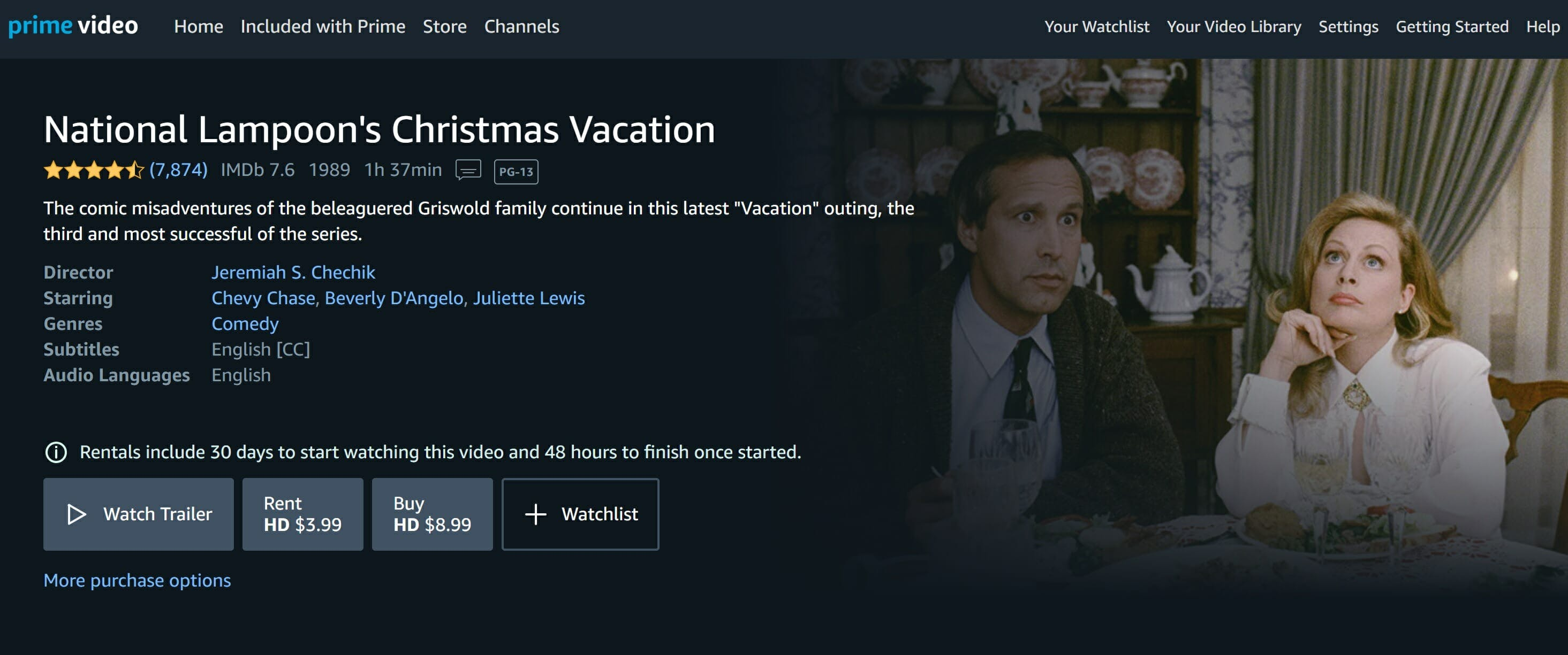 watch christmas vacation online free - amazon