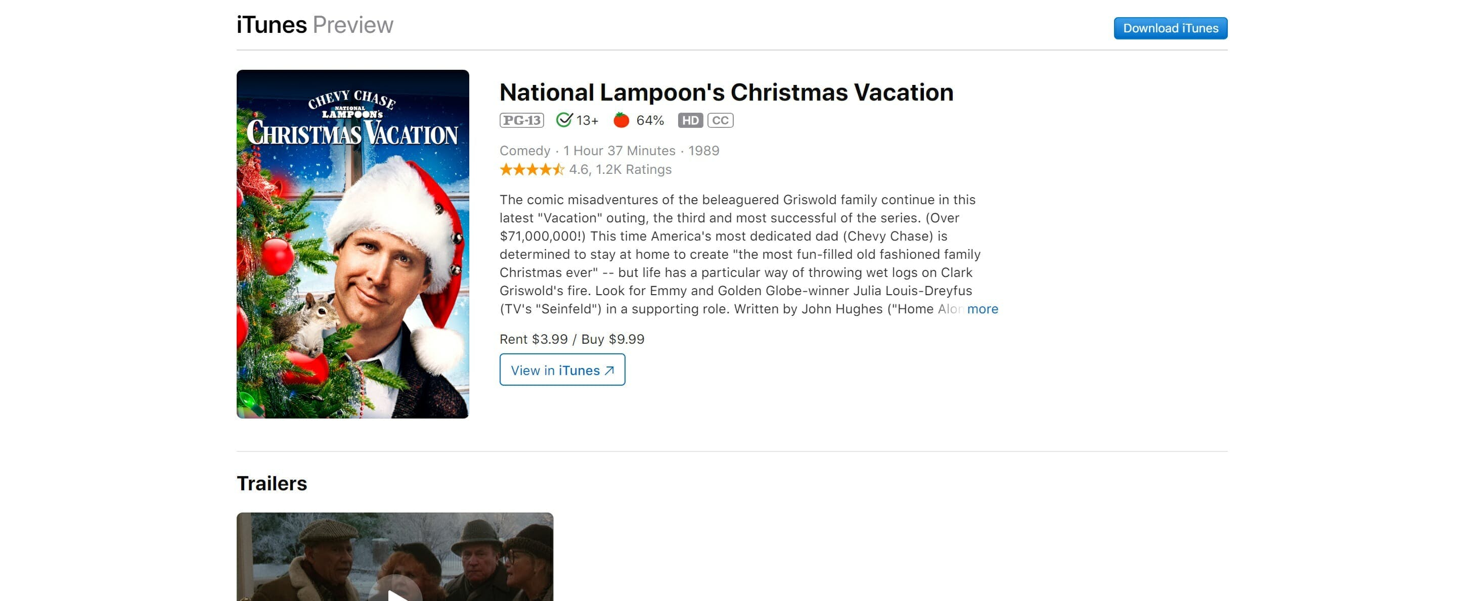 watch christmas vacation online free - itunes