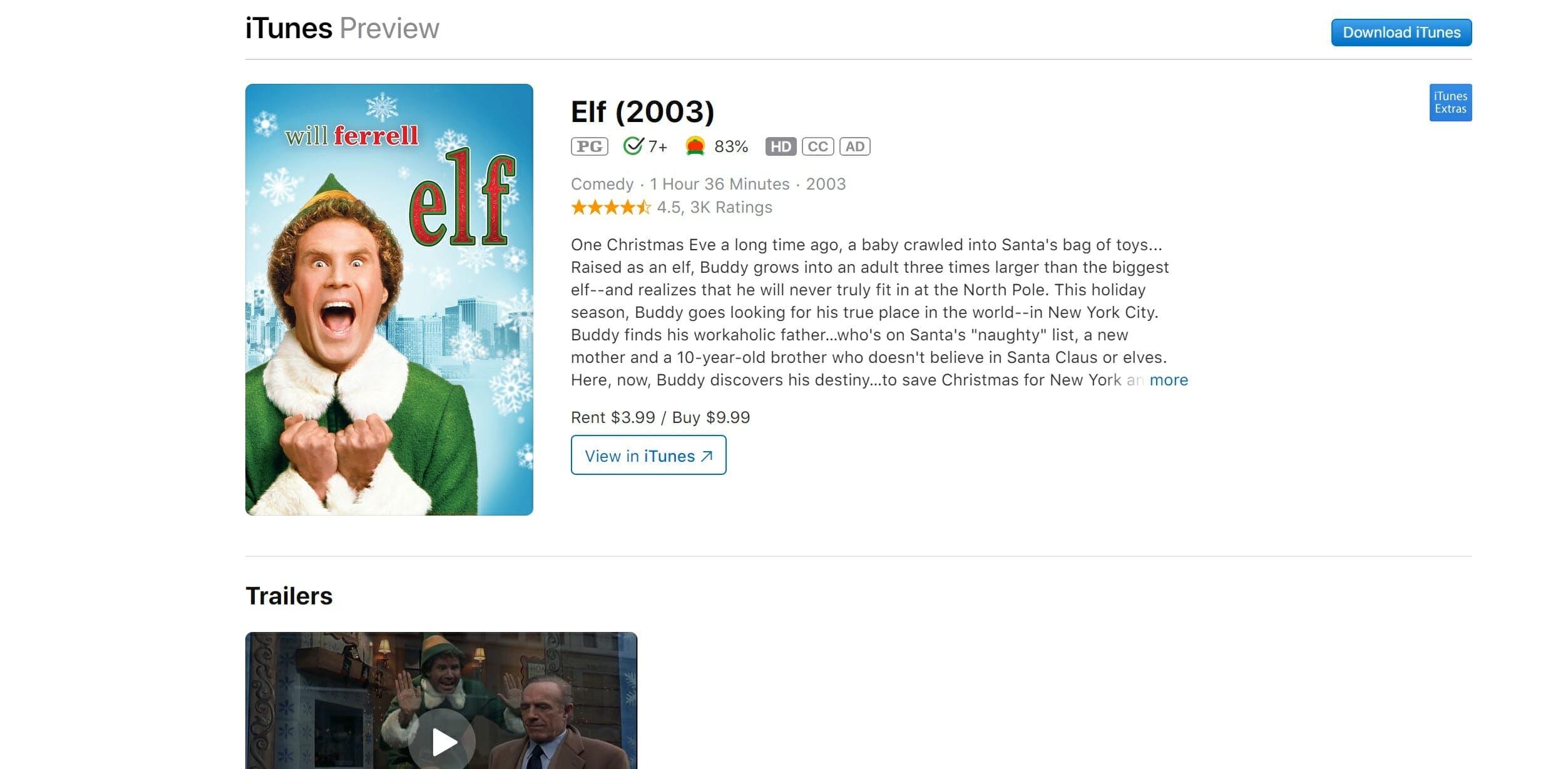 watch elf online free - itunes