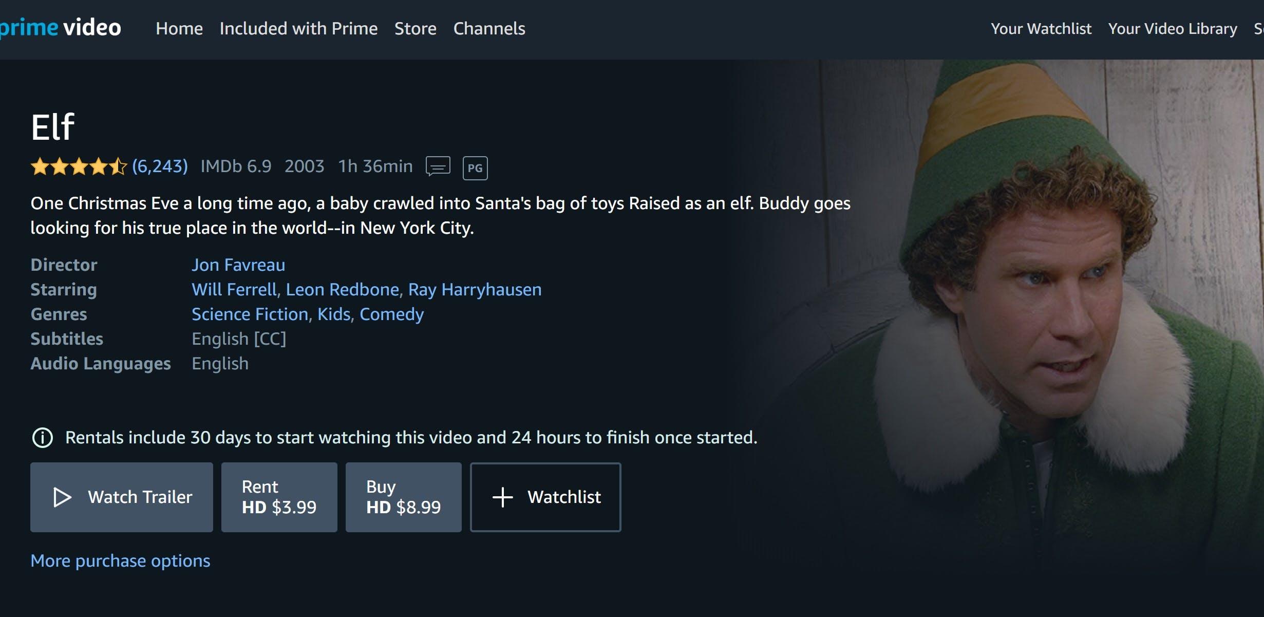 how to watch elf online amazon video