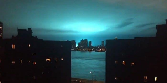 New York City blue lights Con Ed