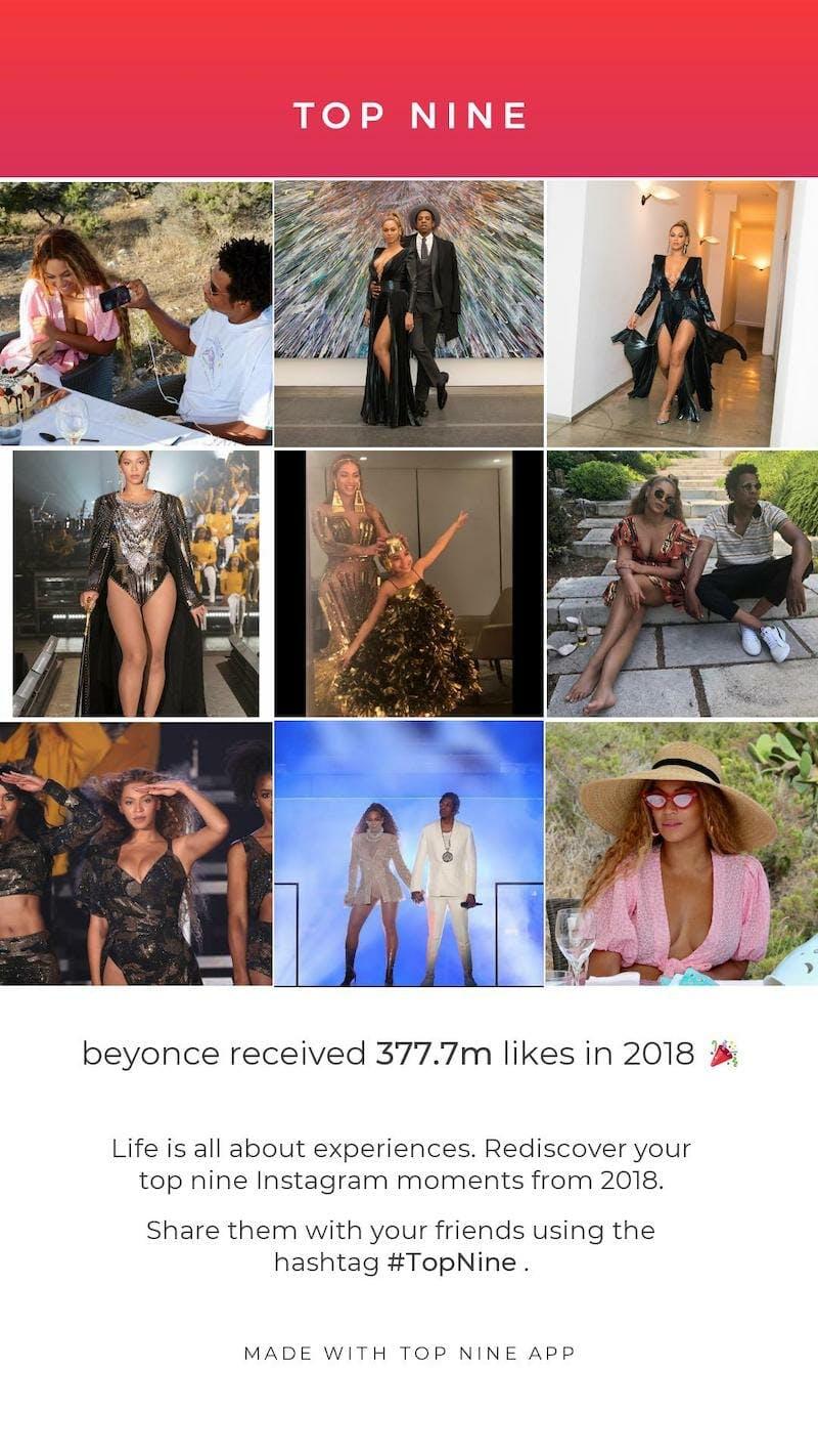 instagram top nine beyonce