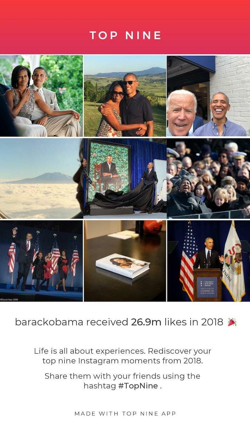 celebrity top nine instagram