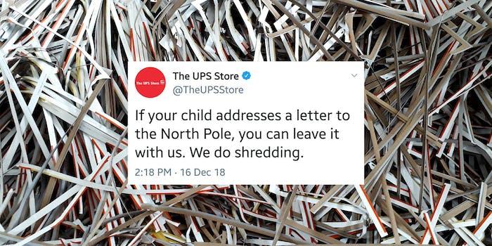 ups shred santa letters tweet