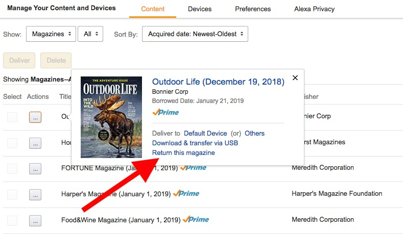 How to return a magazine in Amazon Prime Reading