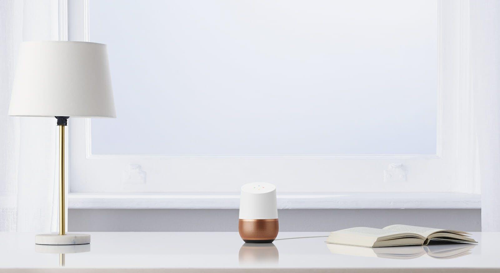 Google Home smart speaker with copper base