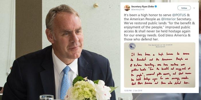 Ryan Zinke Resignation Letter Red Marker