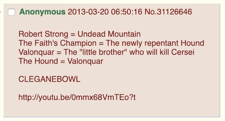 game of thrones cleganebowl 4chan