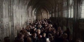 crowded hogwarts hall