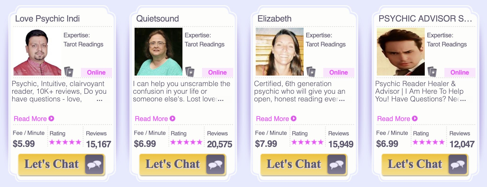 A screenshot of four Kasamba psychics available to read your tarot cards