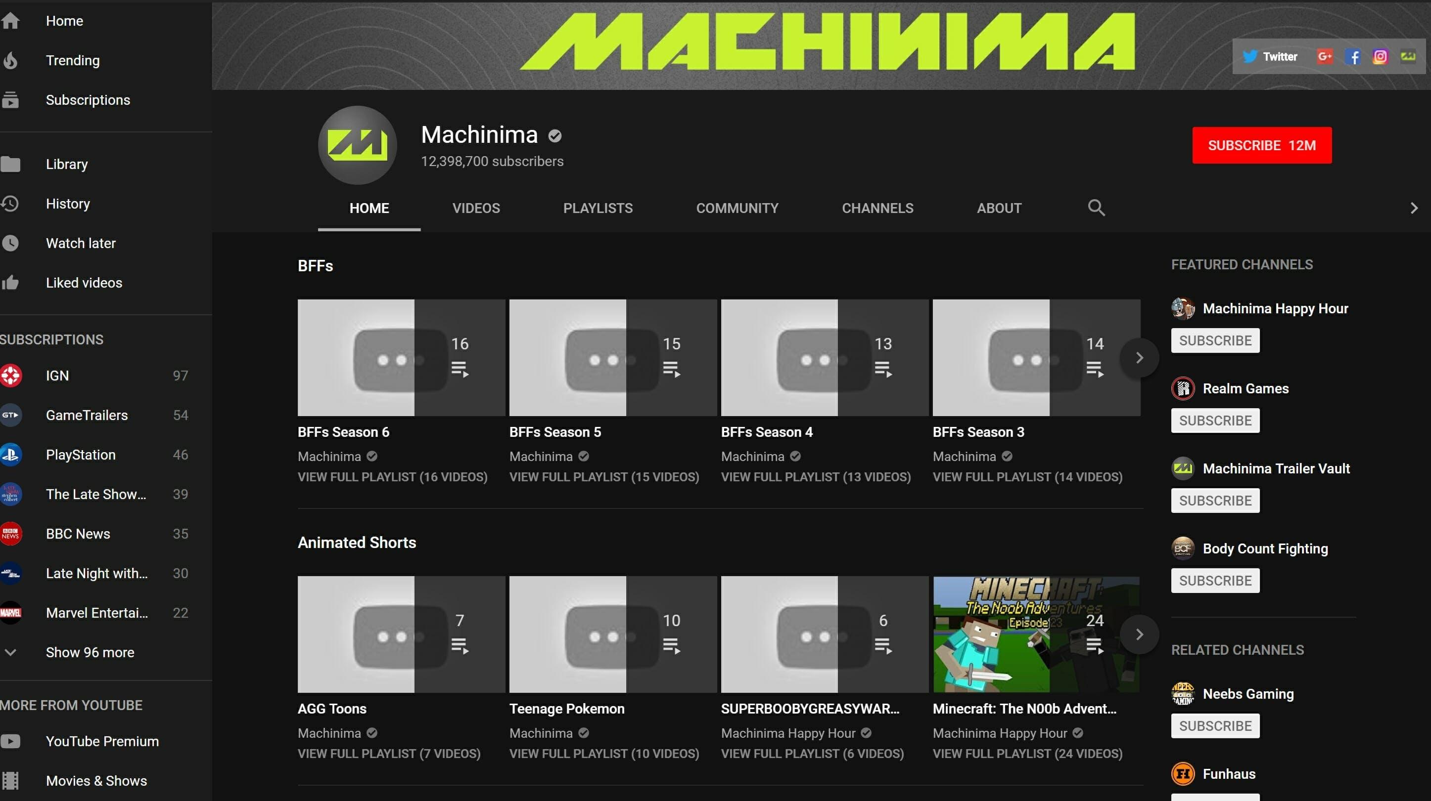 machinima youtube deleted