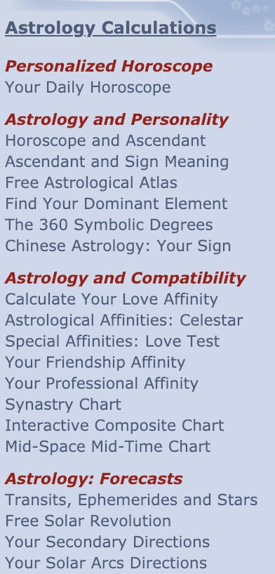 A screenshot of the astrological calculations and horoscopes offers by AstroTheme.com. The list includes personalized horoscopes, literature on astrology and personality, astrological compatibility horoscopes, as well as astrology forecasts.