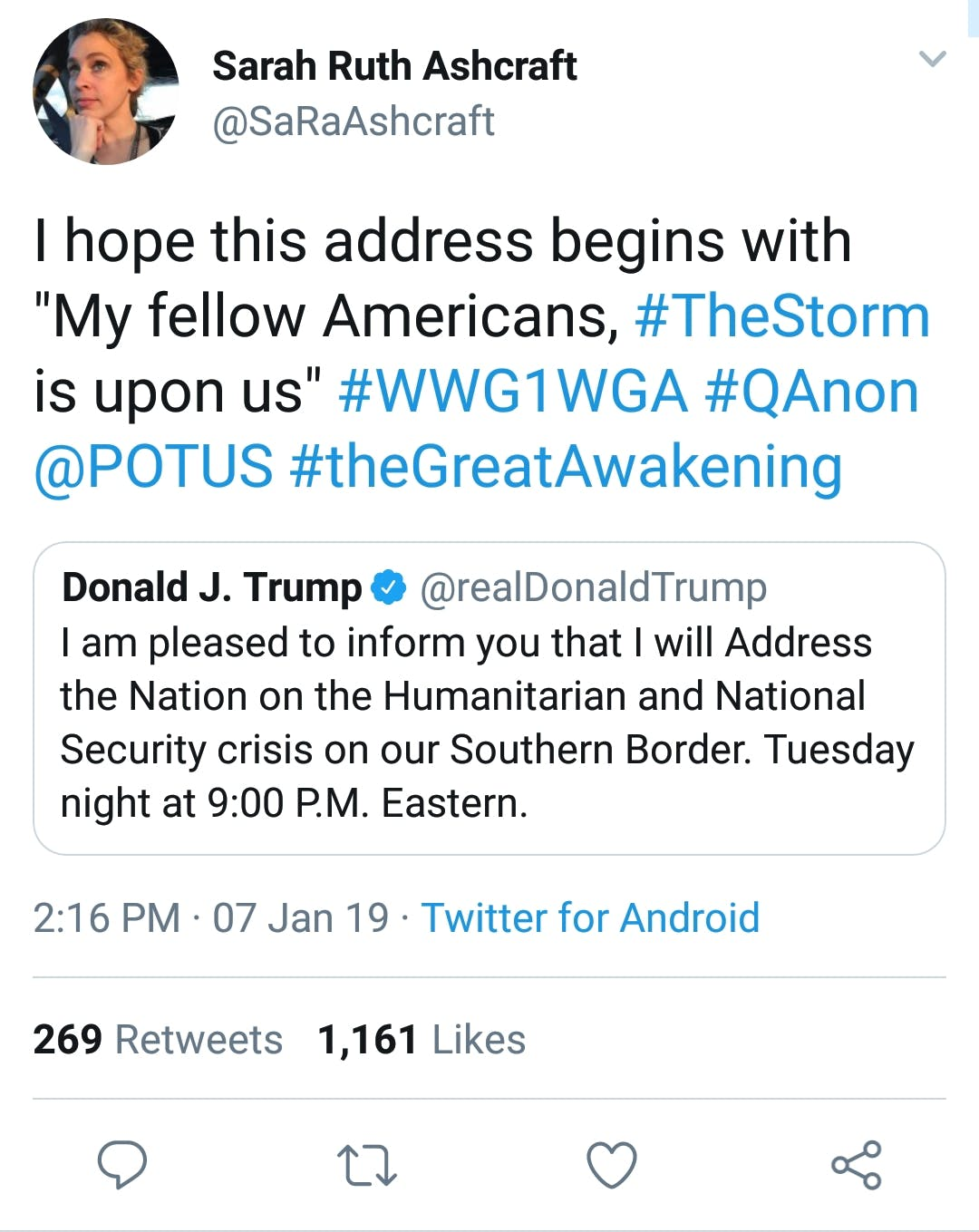 QAnon supporters are giddy for Trump's border wall speech.