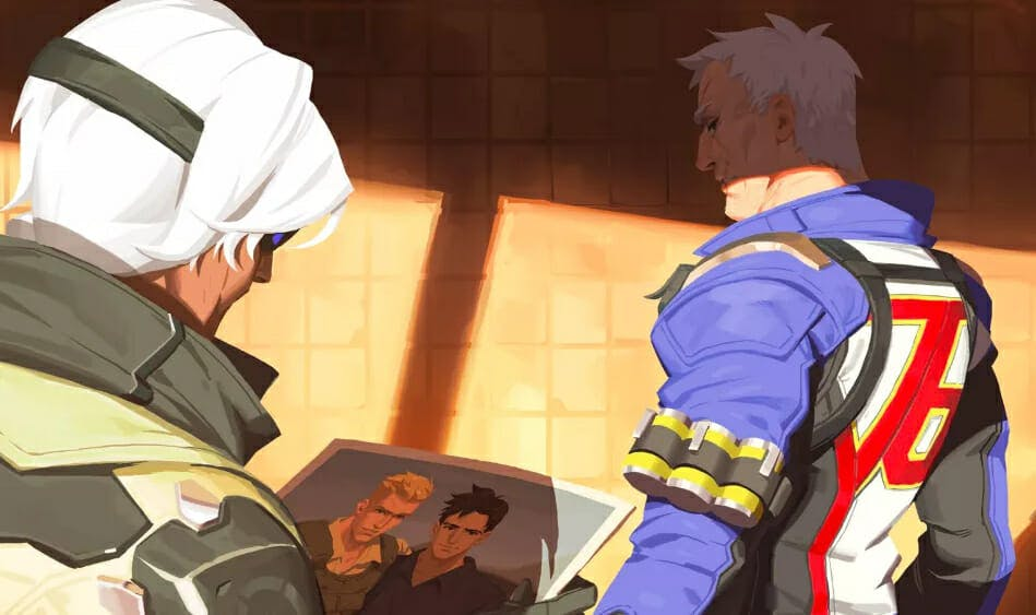 Soldier: 76 and Ana discuss a photo.