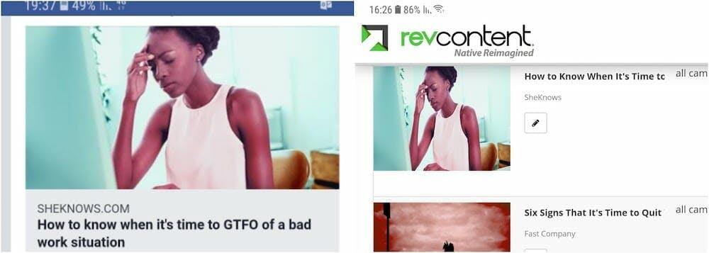 Spinner ads on RevContent